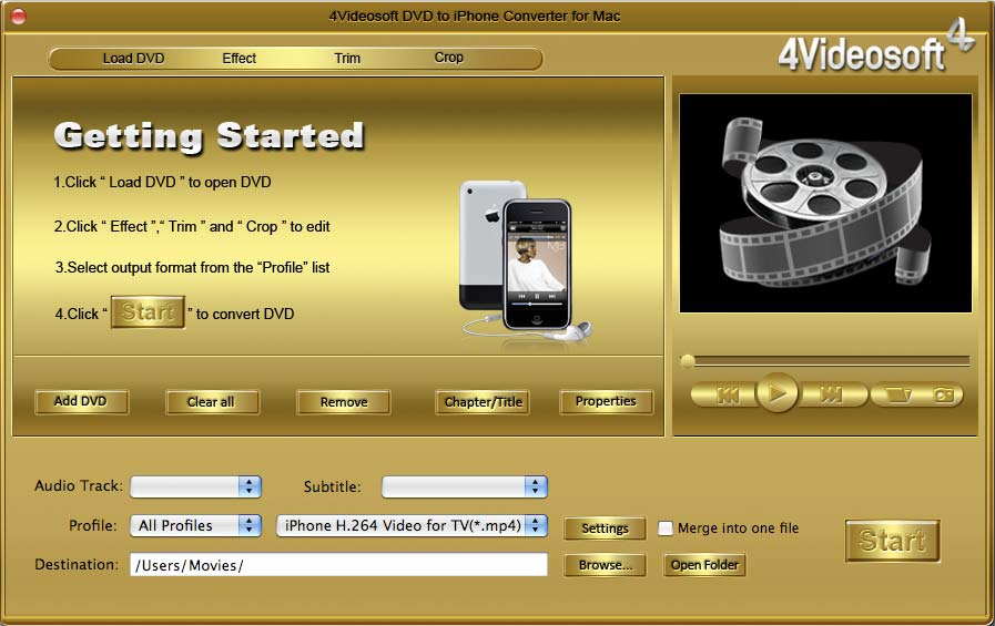 4Videosoft DVD to iPhone Converter for Mac