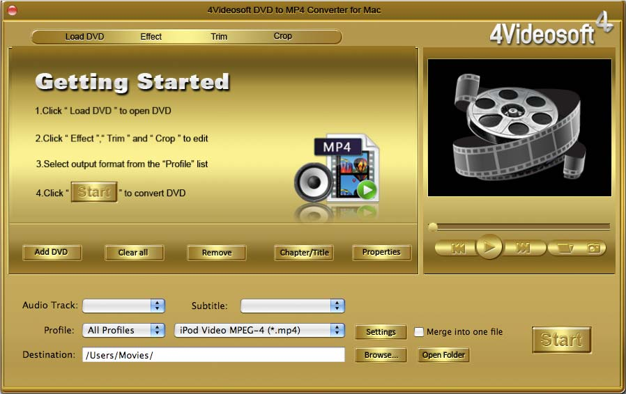 4Videosoft DVD to MP4 Converter for Mac