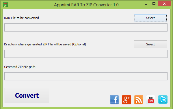 Appnimi RAR To ZIP Converter