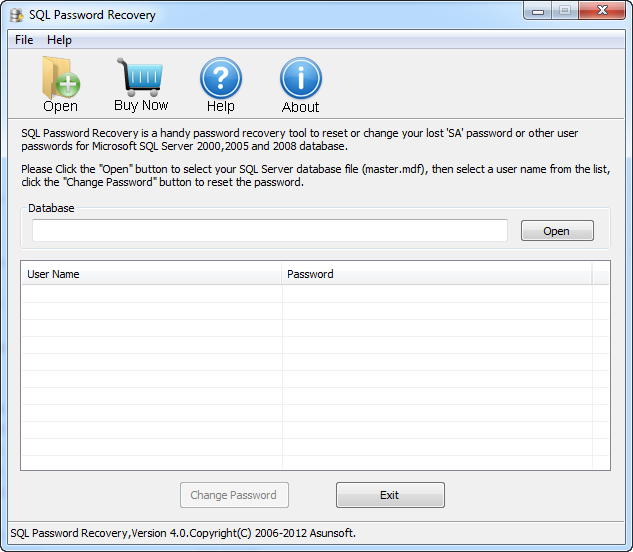 Asunsoft SQL Password Recovery