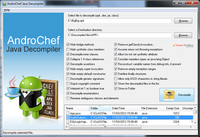 AndroChef Java Decompiler 1.00