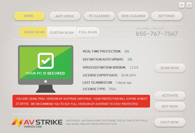 AVstrike Antivirus - 1 PC 3 Year License