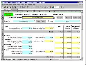 Product and Supplier Profitability Excel