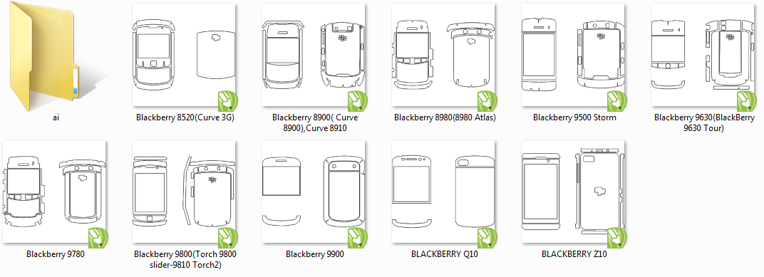 AI, CDR templates Blackberry for cutting of skins and protective films for telephones and tablets