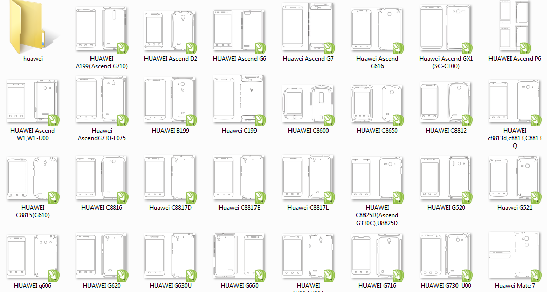 Buy AI, CDR templates Huawei for cutting of skins and protective films for telephones and tablets.