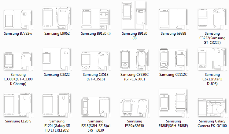 CDR templates Samsung for cutting of skins and protective films for telephones and tablets.