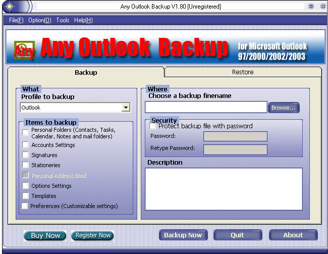 Any Outlook Backup