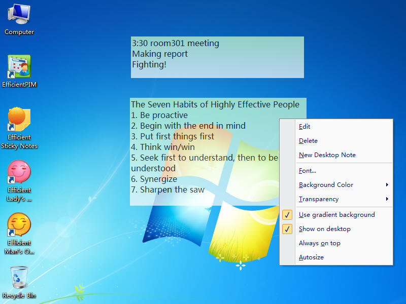 Efficient Sticky Notes Network