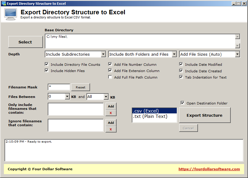Export Directory Structure to Excel