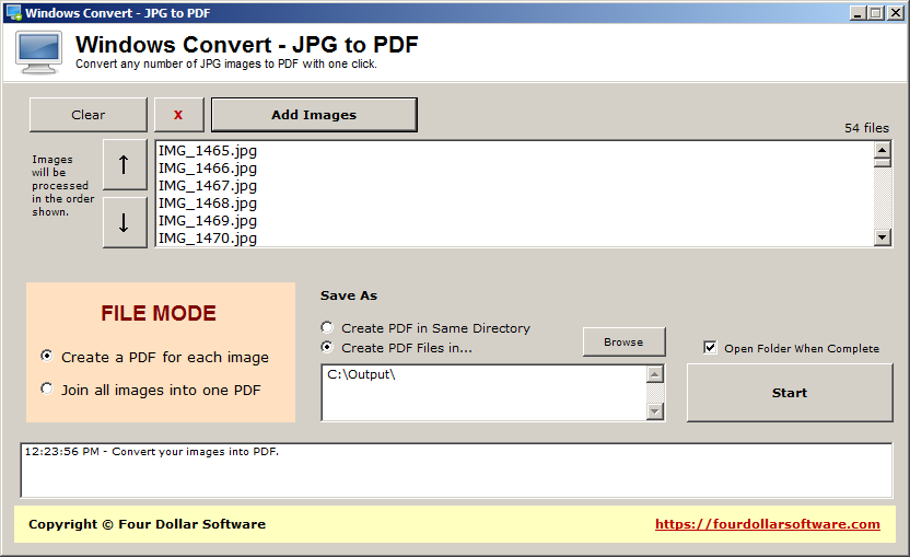 Windows Convert - JPG to PDF