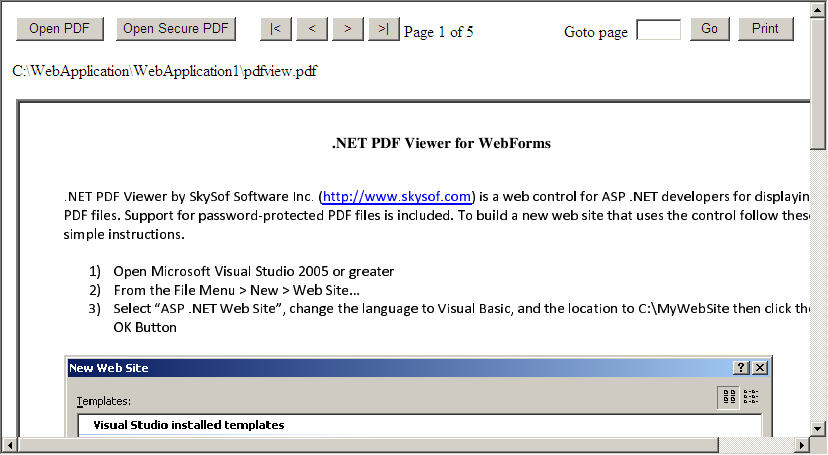 .NET PDF Viewer for WebForms