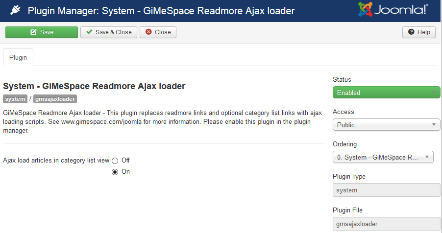 GiMeSpace Joomla Read More Ajax Loader