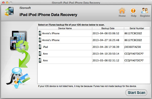 iStonsoft iPad/iPod/iPhone Data Recovery for Mac