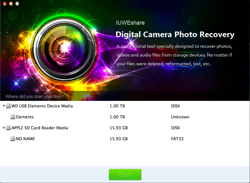 IUWEshare Mac Digital Camera Photo Recovery