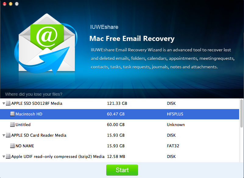 IUWEshare Mac Email Recovery Pro