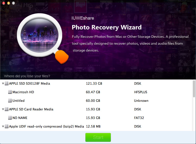 IUWEshare Mac Photo Recovery Wizard