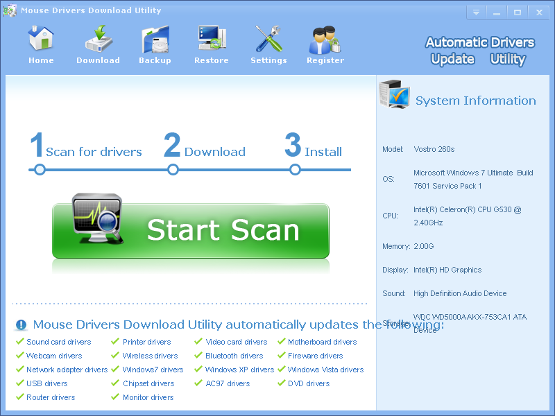 Mouse Drivers Download Utility