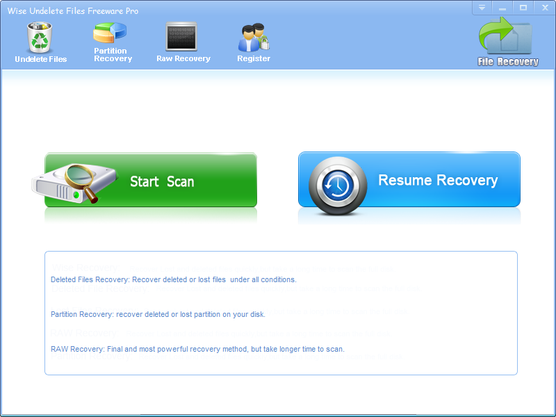 Wise Undelete Files Freeware Pro