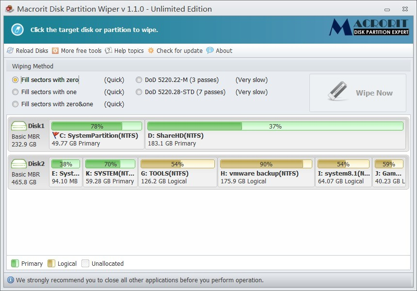 Macrorit? Disk Partition Wiper Unlimited