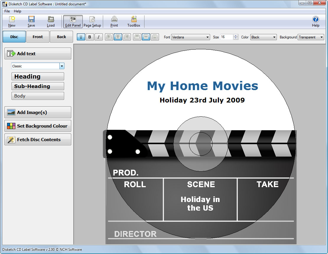 Disketch Disc Label Software
