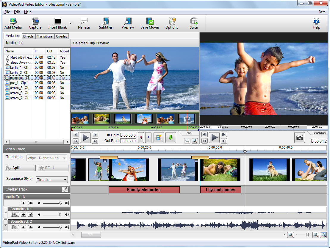 VideoPad Video Editor Home Edition