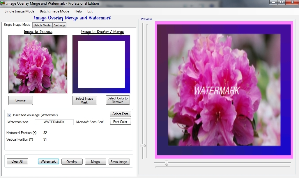 Image overlay merge and watermark Pro