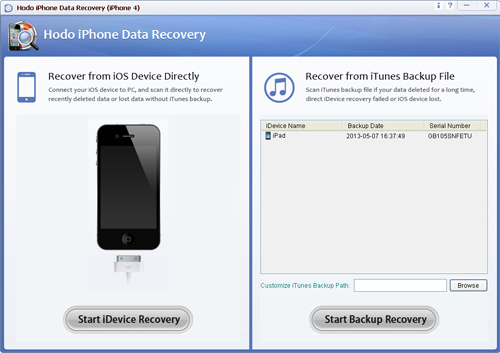 Hodo iPhone Data Recovery (iPhone 4)