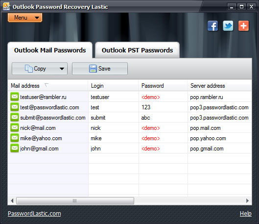 Outlook Password Recovery Lastic - Business License