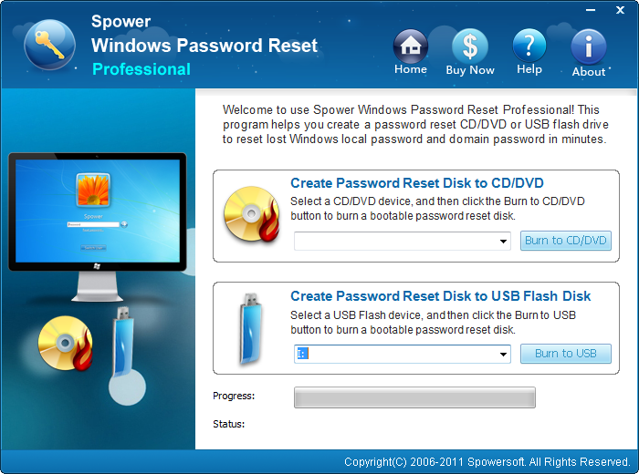 Spower Windows Password Reset Professional - for 10 PCs
