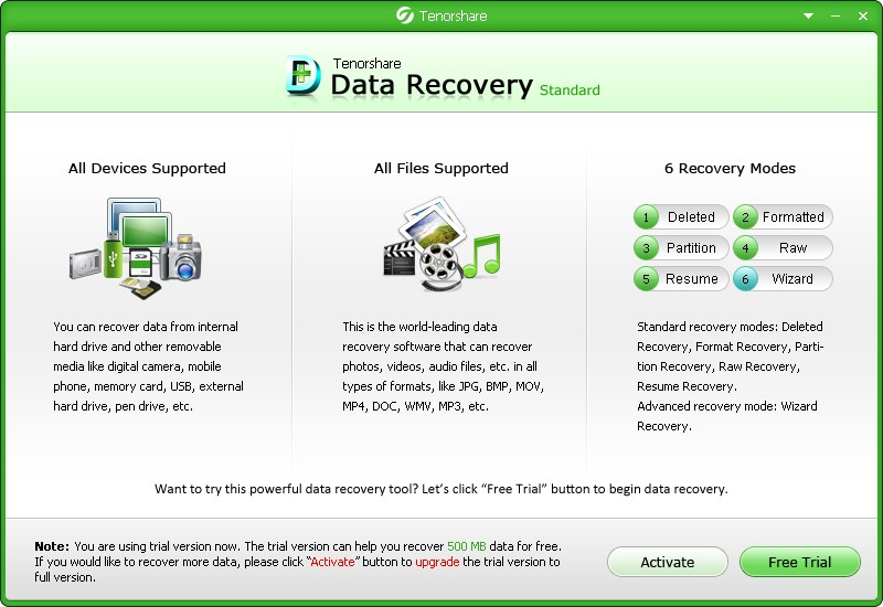 Tenorshare Data Recovery Standard for Windows/GAM