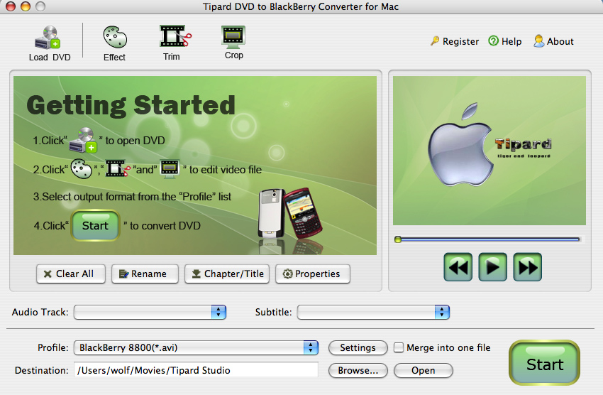 Tipard DVD to BlackBerry Converter for Mac