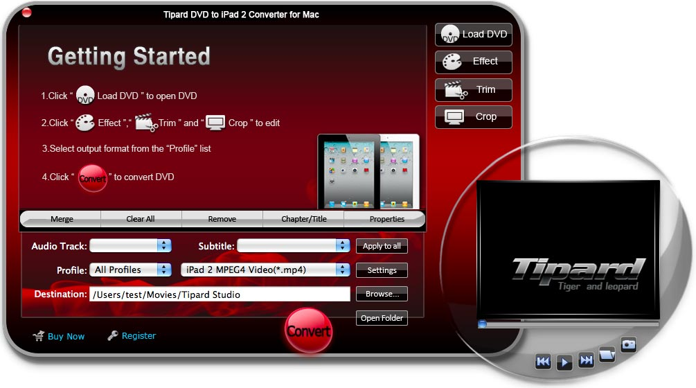 Tipard DVD to iPad 2 Converter for Mac