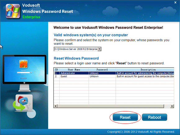 Vodusoft Windows Password Reset Enterprise
