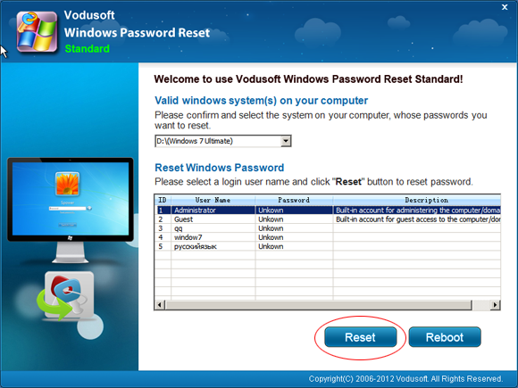 Vodusoft Windows Password Reset Standard