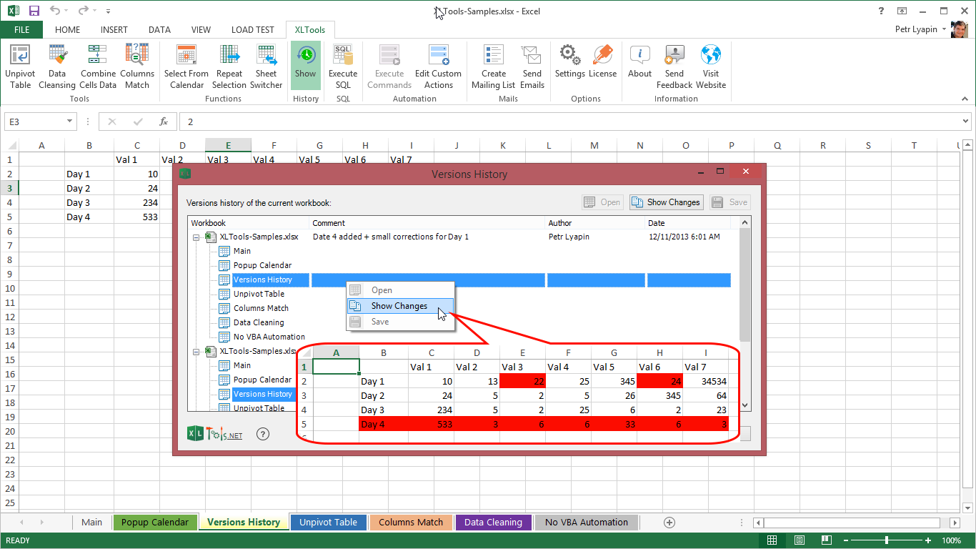 XLTools Version Control Add-In for Excel