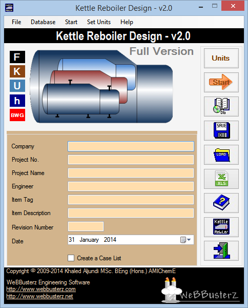 Kettle Reboiler Design (KRD) Network Edition