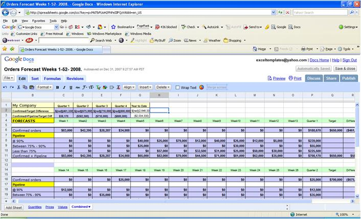 Google Spreadsheets Excel Templates Collection