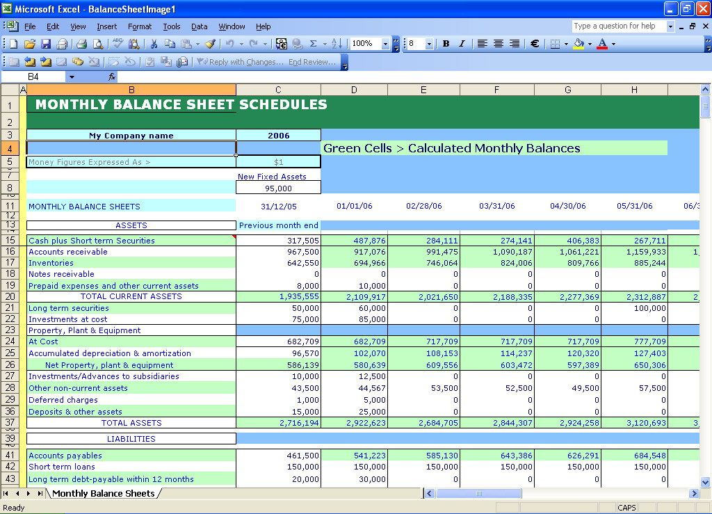 Instant Balance Sheets Excel Templates
