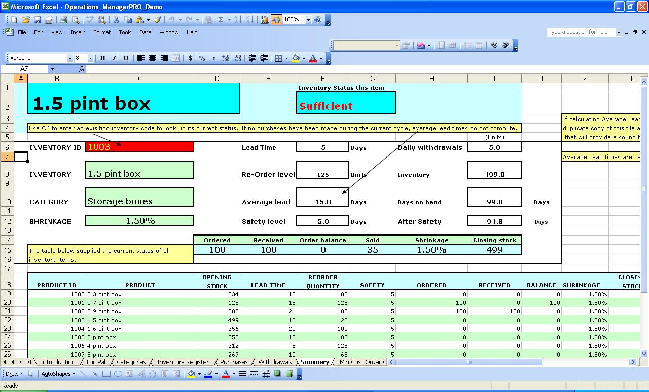 Inventory Manager PRO For Excel