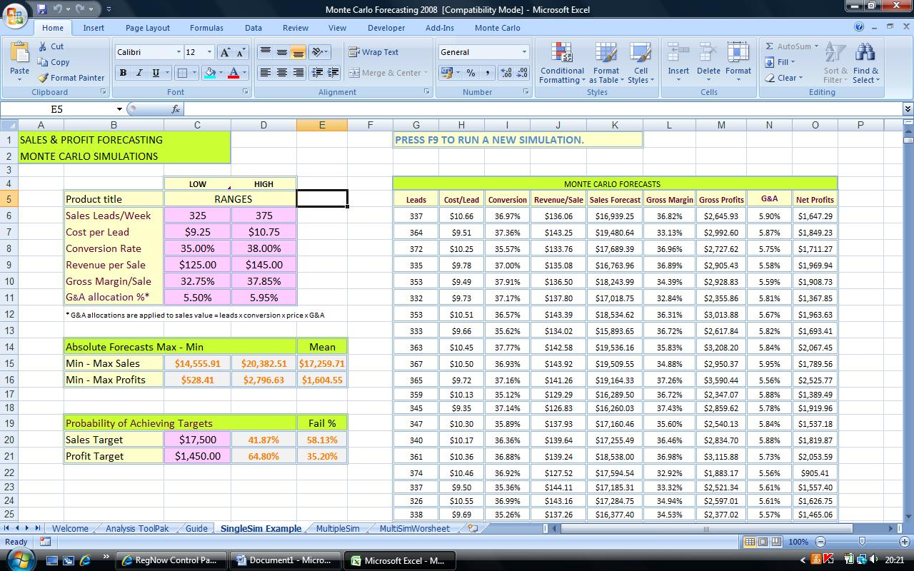 Monte Carlo Financial Modeling 2008